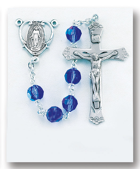 Tin Cut Czech Bermuda Blue Crystal Rosary - Engravable