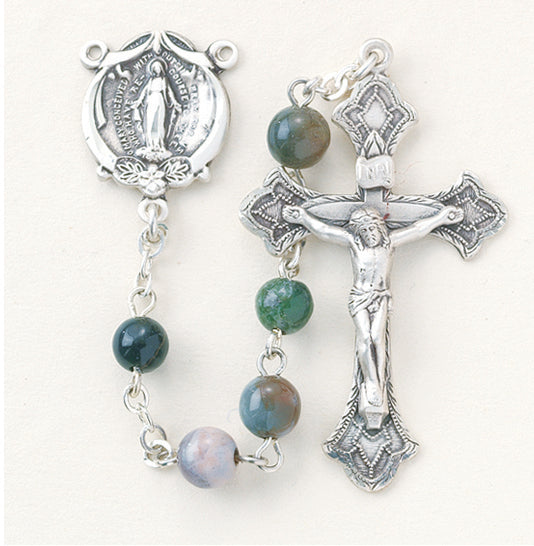 Round Genuine India Agate Rosary - Engravable