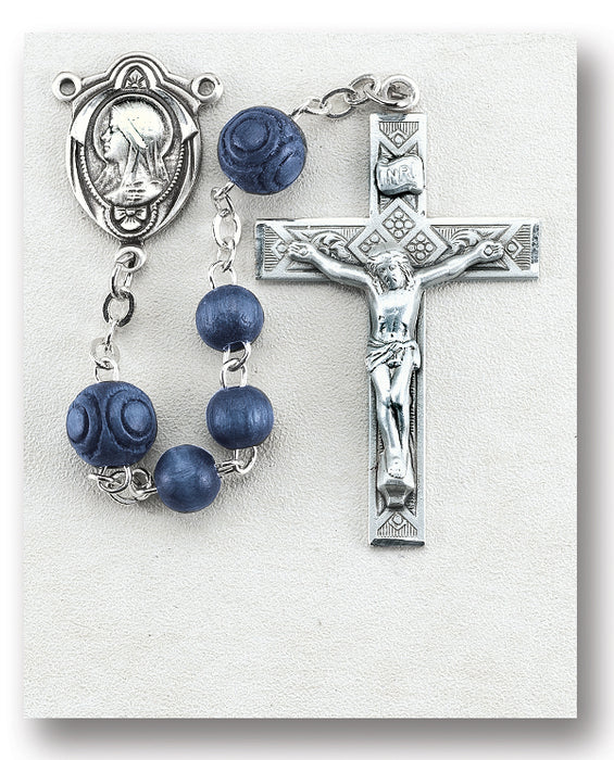 Blue Round Italian Wood Rosary - Engravable