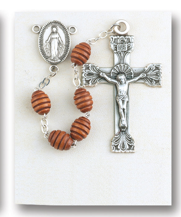 Brown Oval Carved Wood Rosary - Engravable