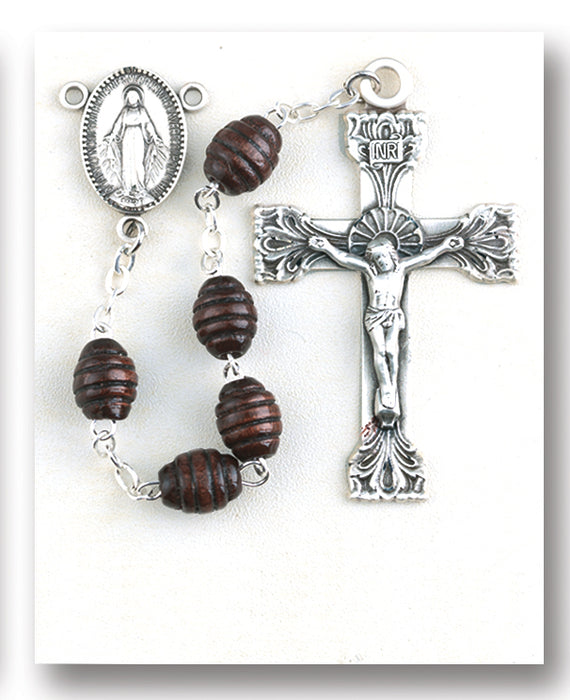 Maroon Oval Carved Wood Rosary - Engravable