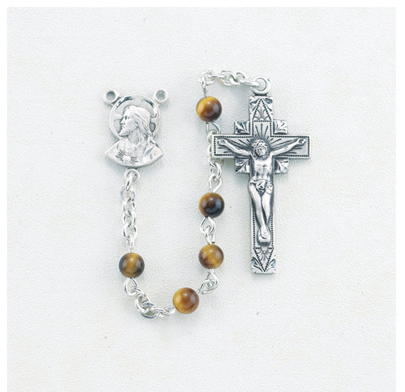 Genuine Tiger Eye Rosary - Engravable