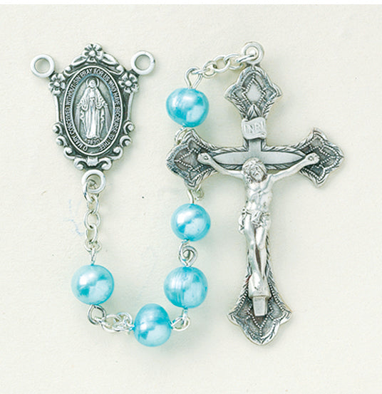 Blue Freshwater Pearl Rosary - Engravable