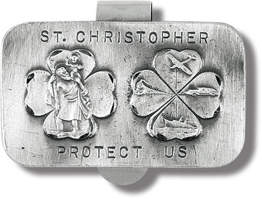 St Christopher Protect Us Shamrock Visor Clip 3-Pack