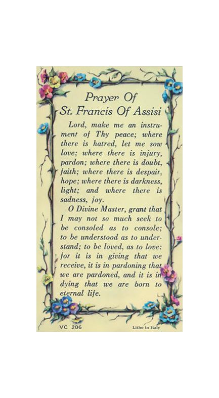 100-Pack - Verse Card Prayer Of Saint Francis Of Assisi Verse Card