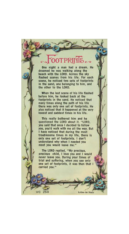 100-Pack - Footprints Verse Card