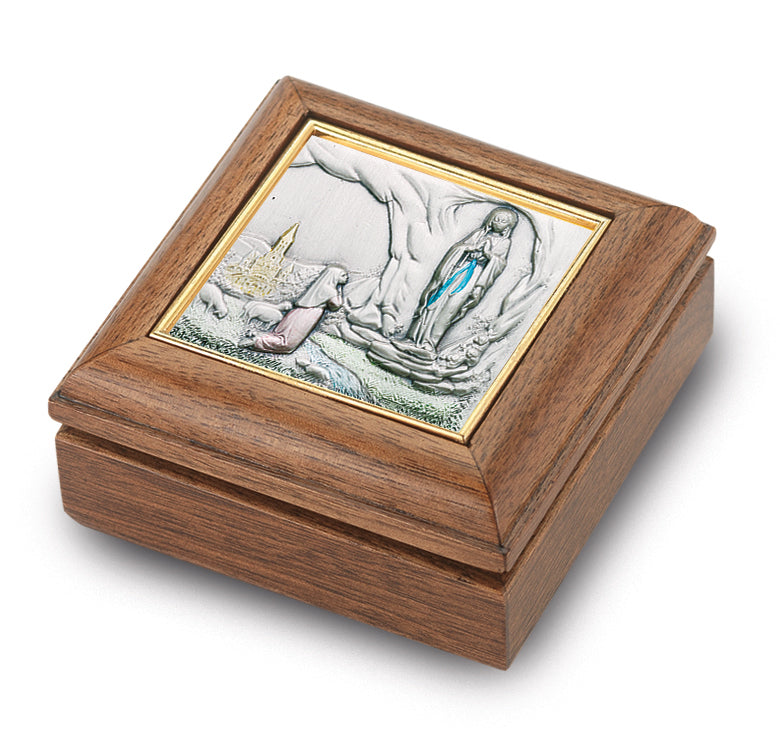 Genuine Walnut Our Lady of Lourdes Keepsake Box
