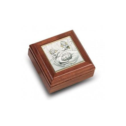 Genuine Walnut Guardian Angels Keepsake Box