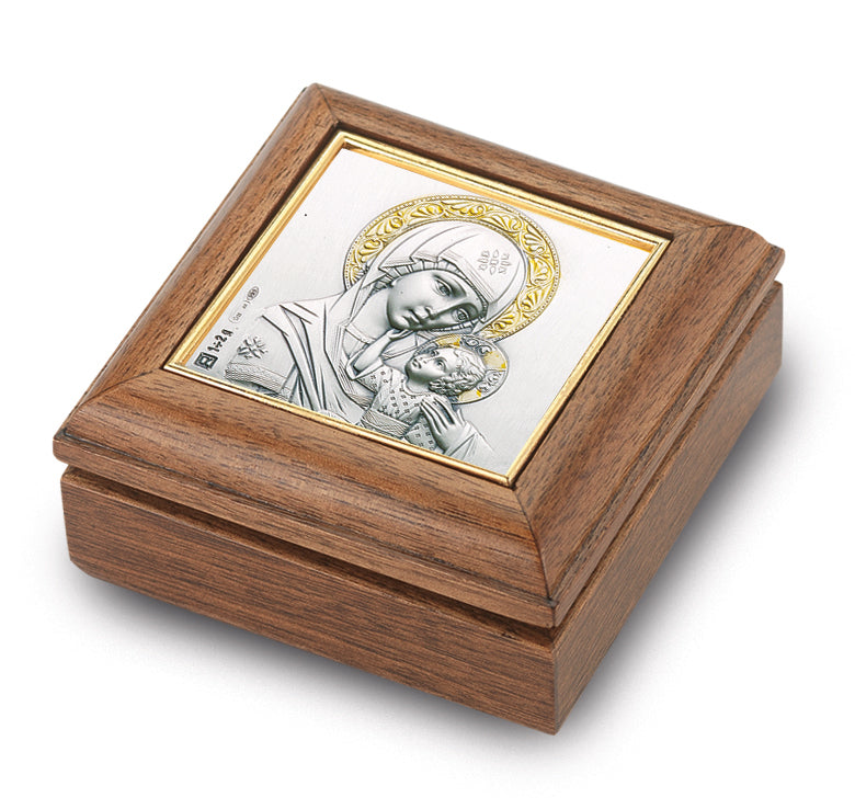 Genuine Walnut Our Lady of Passion Keepsake Box