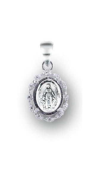 Sterling Silver Miracualou Medal with Cubic Set Zircons