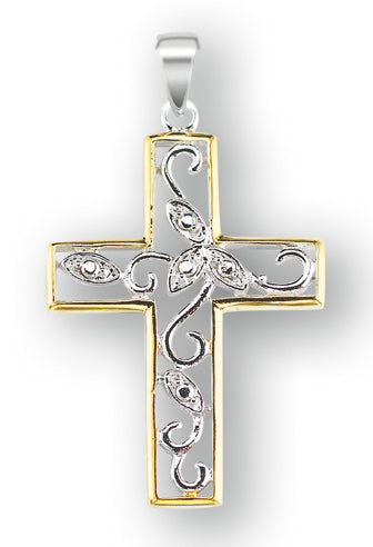 Sterling Silver Cubic Zircon Tutone Vine Cross with 18-inch Rhodium Plated Chain