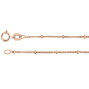 24-inch Beaded Curb Chain with Spring Ring - 14K Rose