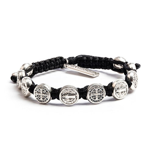 Benedictine Blessing Bracelet Black - Silver Metal
