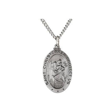 Sterling Silver Oval Saint Christopher Pendant Medl Necklace Set