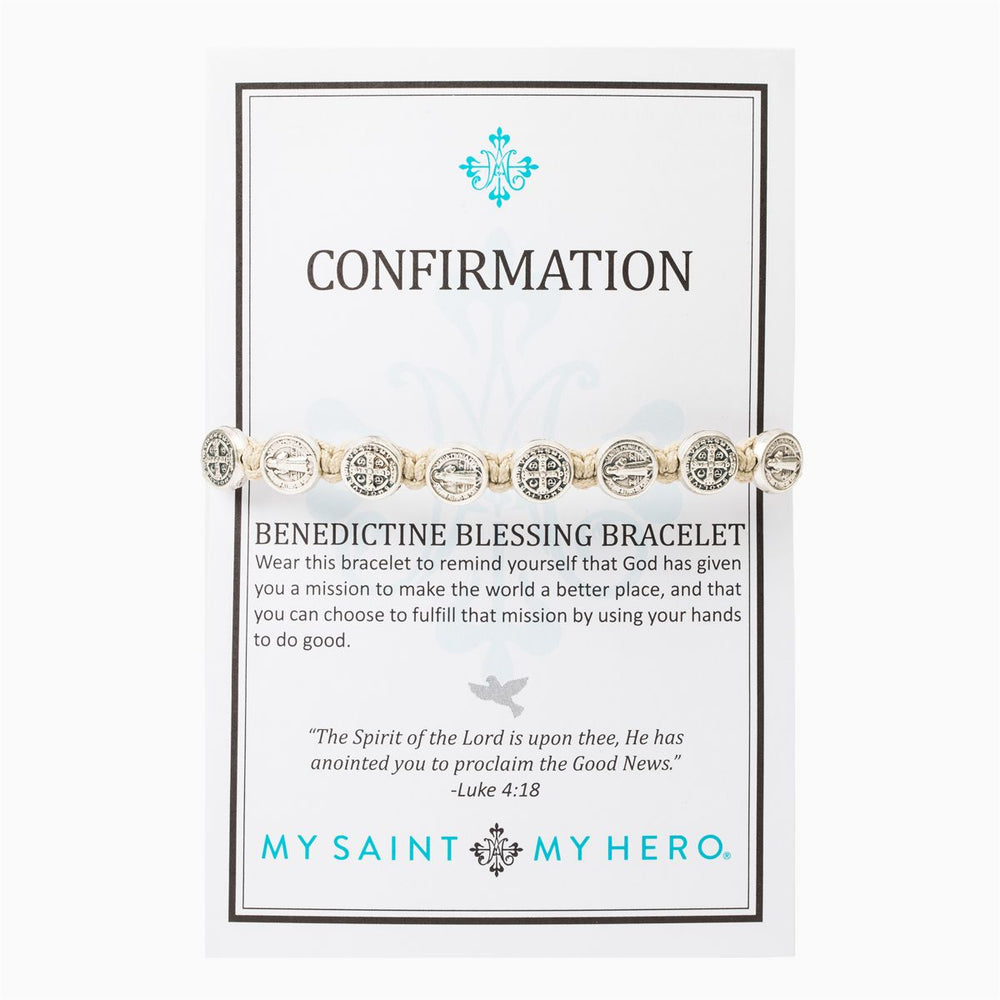 Tan Confirmation Blessing Bracelet - Silver