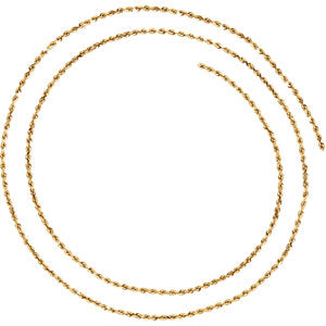 16-inch Diamond Cut Rope Chain with Lobster Clasp - 14K Yellow Gold