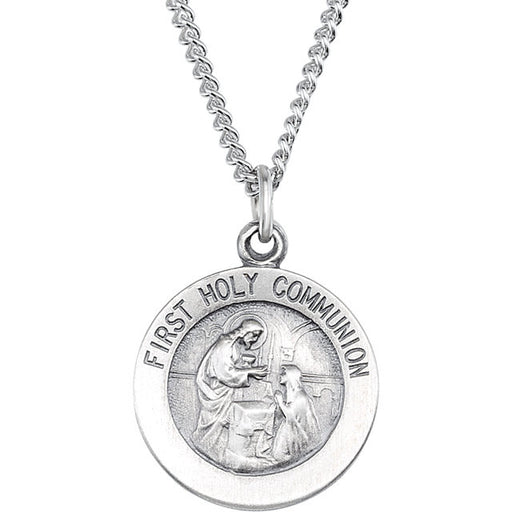 Sterling Silver First Communion Medal - Polished