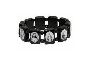 Holy Saint Stretch Bracelet - Black Wood - B/W pictures