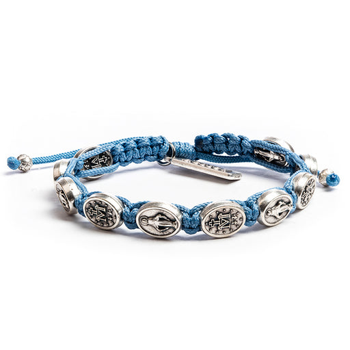 "Miraculous Mary Blessing Bracelet Light Blue Ã"""" Silver"