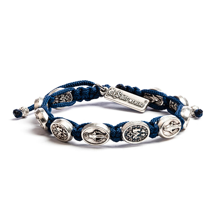 "Miraculous Mary Blessing Bracelet Dark Blue Ã"""" Silver"