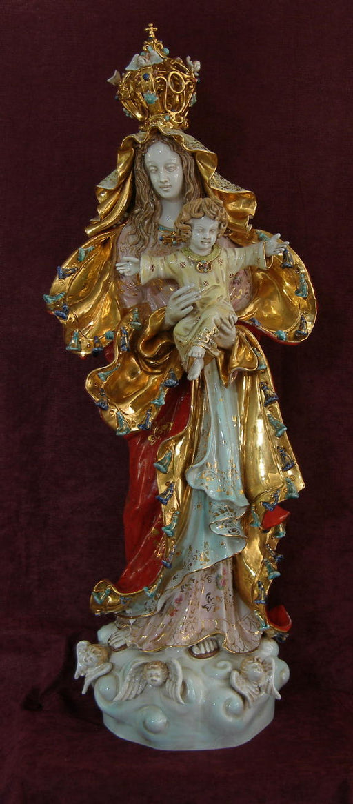 Our Lady Queen Of Peace Madonna And Child Hand-Painted Ceramic 14X38-inch