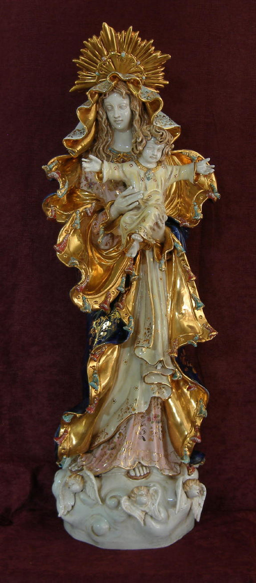 Our Lady Queen Of Peace Madonna And Child Hand-Painted Ceramic 14X36-inch