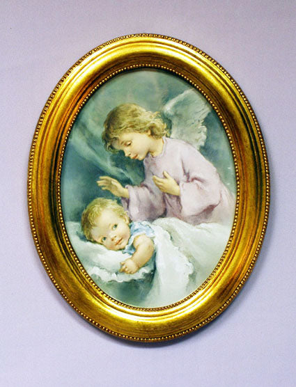 Guardian Angel Watching Over Infant Plaque 9-inch X 11-inch