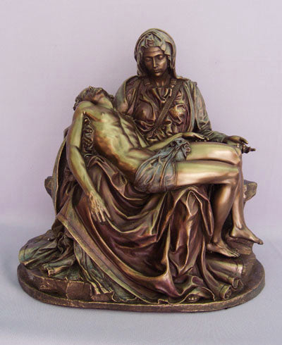 Pieta Statue Cold-Cast Bronze Lightly Hand-Painted 10-inch