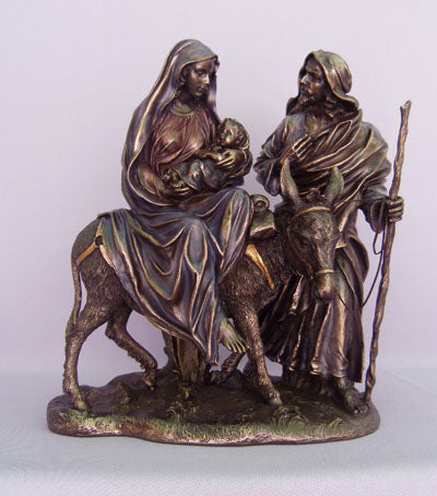 Flight To Egypt Cold-Cast Bronze Lightly Hand-Painted 10.5-inch