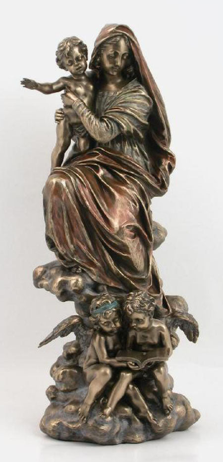 Madonna And Child With Angels Cold-Cast Bronze 12.75-inch