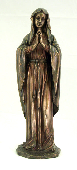 Praying Virgin Cold-Cast Bronze Lightly Hand-Painted 11.75-inch
