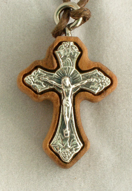 Crucifix Necklace Wood/Silver 26-inch