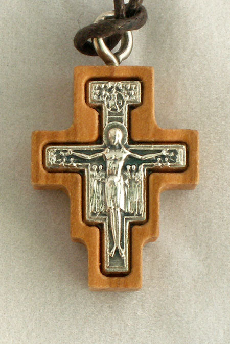 San Damian Necklace Wood/Silver 28-inch