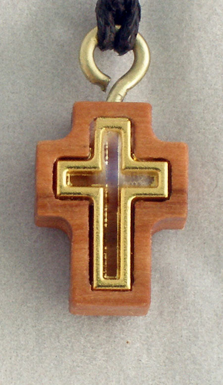 Cross Necklace Wood/Gold 26-inch