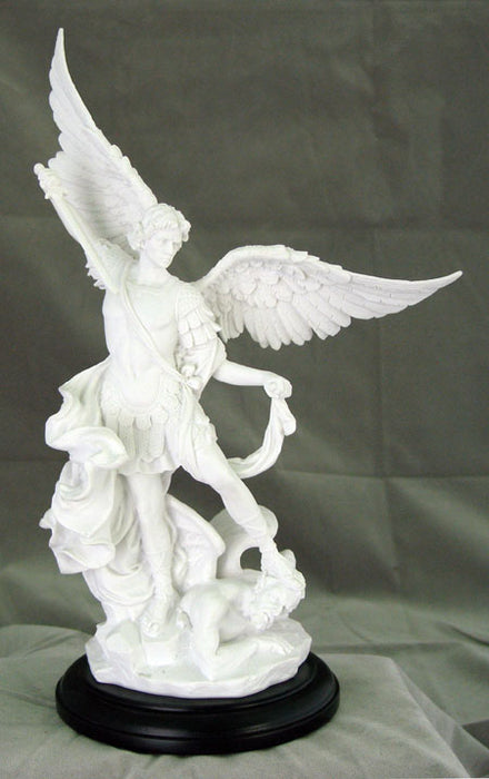 Saint Michael White On A Black Base 10.75-inch
