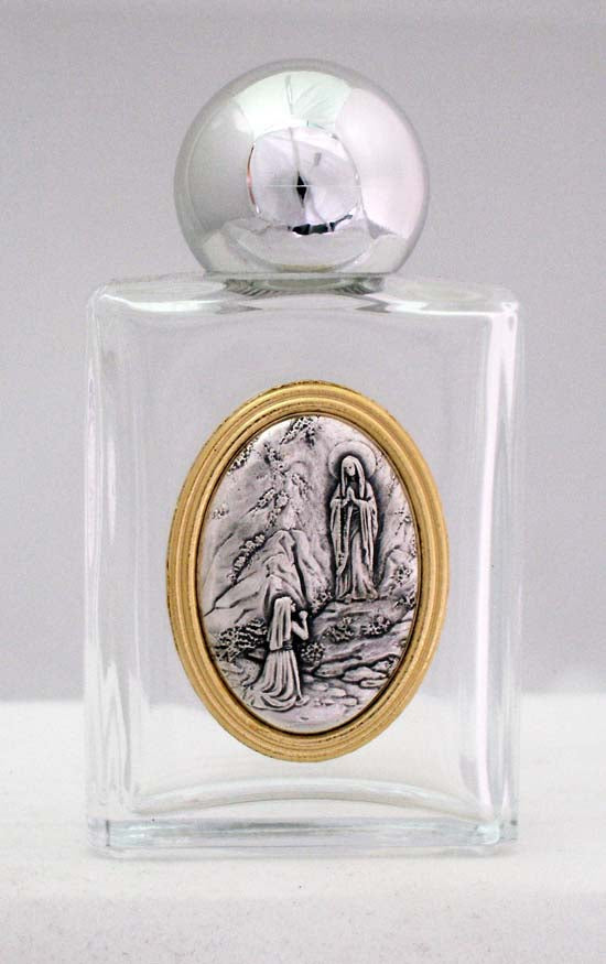 Our Lady Of Lourdes Holy Water Bottle Square