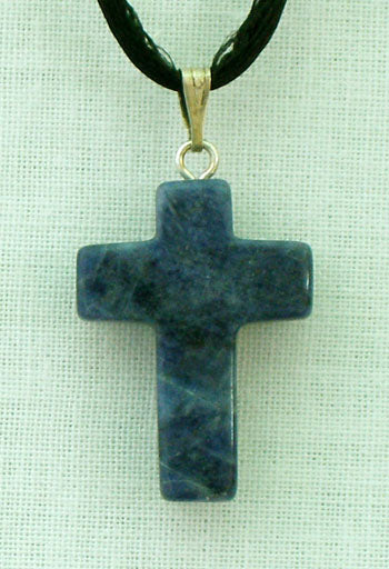 Sodalite (Blue) Natural Stone Cross Necklace 26-inch
