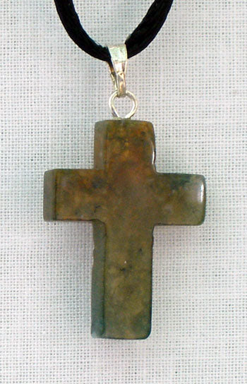Moss Agate Natural Stone Cross Necklace 26-inch