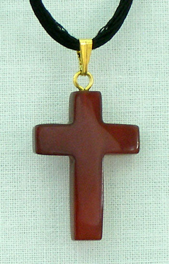 Carnelian Natural Stone Cross Necklace 26-inch
