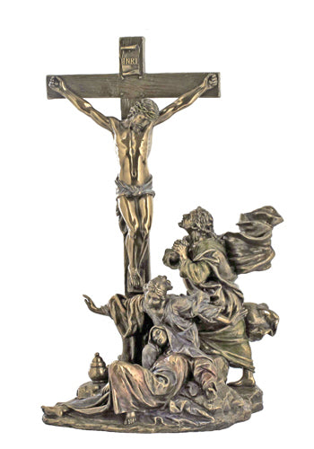 Crucifixion Masterpiece Cold-Cast Bronze Lightly Hand-Painted 11-inch