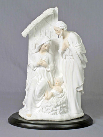 Holy Family In Stable White On A Black Base 12-inch