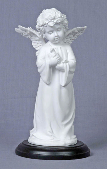 Angel Holding Dove White On A Black Base 7.75-inch