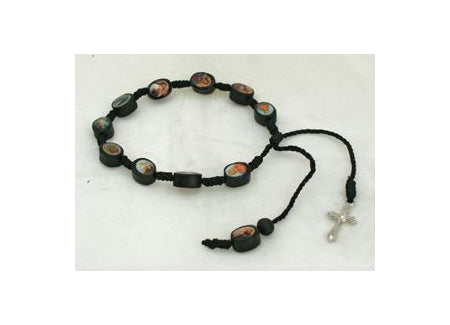 Decade Wood Rosary Bracelet With Metal Cross And Black Print Beads