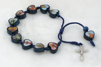 Decade Wood Rosary Bracelet With Metal Cross And Blue Print Beads