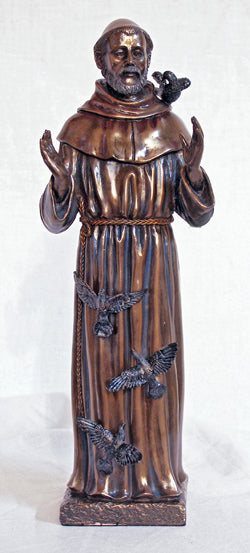 Saint Francis In Cold Cast Bronze Indoor 11-inch