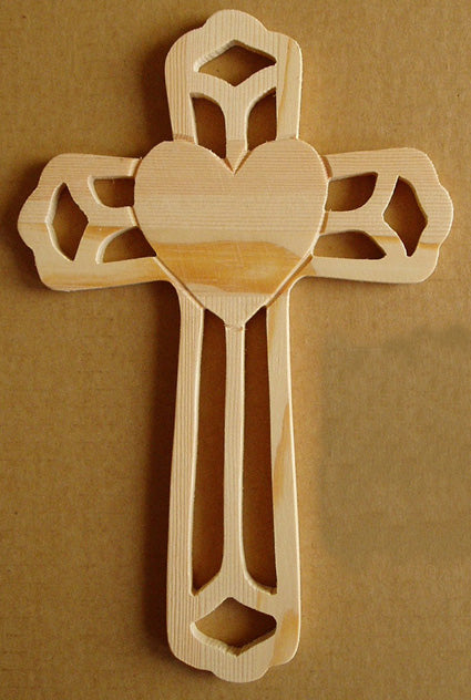 Ornate Wood Cross With Heart Shape 8.75-inch Tall