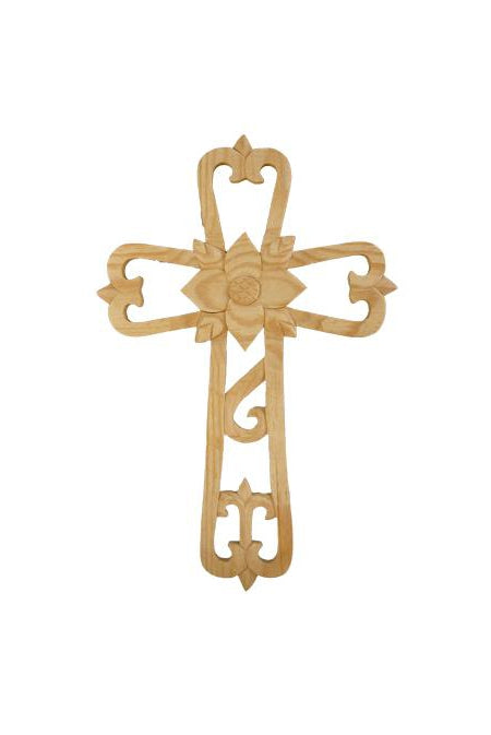 Ornate Wood Cross With Center Flower 11.75-inch Tall