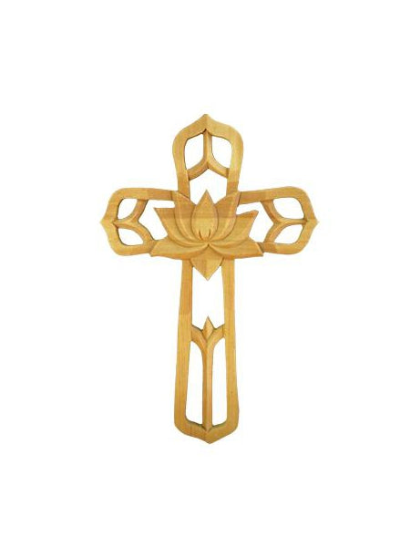 Ornate Wood Cross With Center Flower 8.75-inch Tall