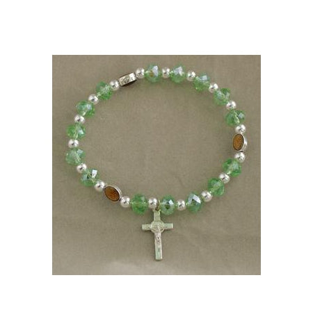 Miraculous Medal In Green Elastic Bracelet With Cross