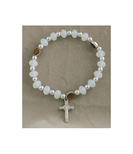 Miraculous Medal In Clear Elastic Bracelet With Cross